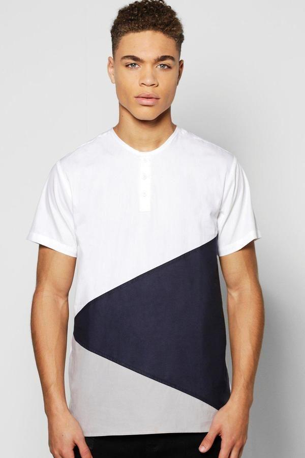 boohoo Short Sleeve Splice Grandad Shirt