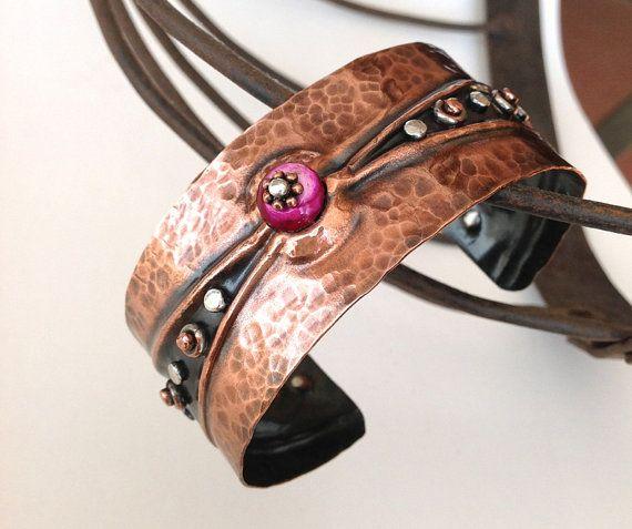 Copper Bracelet Cuff hand forged metal jewelry fold form jewelry via Etsy