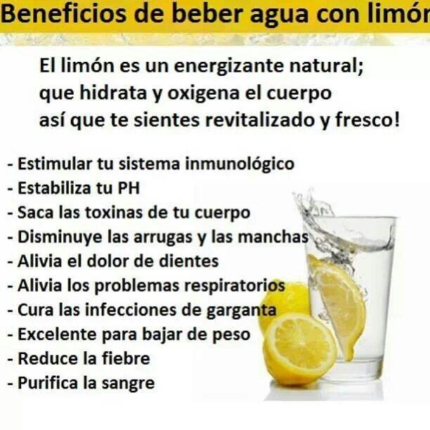 Beneficios de la agua con limon