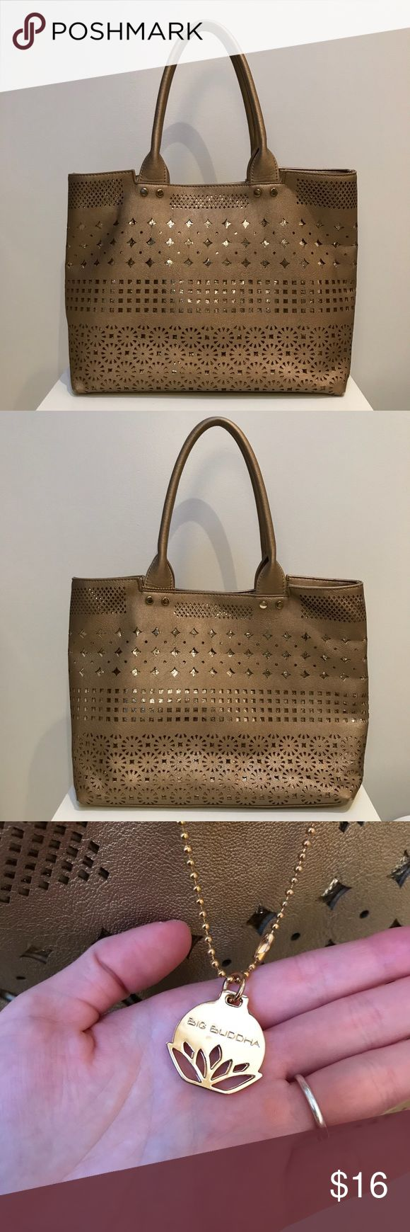 Big Buddha Bag Metallic bronzey gold tone bag from Big Buddha. Very gently used exterior. Please see photos of the inside for makeup spill. Big Buddha Bags