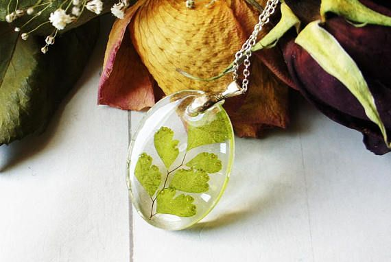Fern necklace Dried fern Resin necklace Real fern
