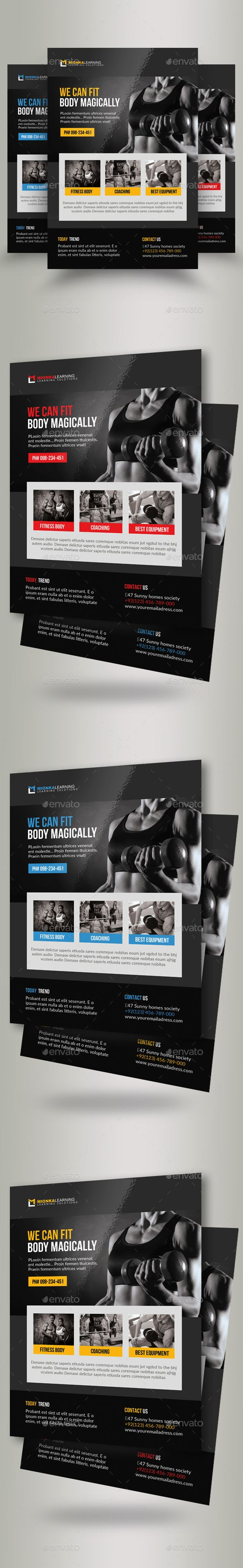 Body Fitness Club #Flyer Template - Corporate #Flyers Download here:  https://graphicriver.net/item/body-fitness-club-flyer-template/19722373?ref=alena994