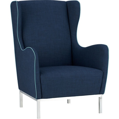 study wingback chair in chairs | CB2  when it's not the dining room it's the library. not crazy about that piping but liking the lines possilby for the second reading chair