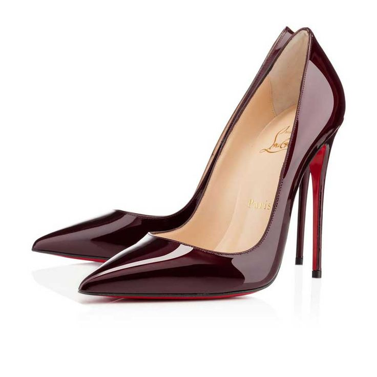 Christian Louboutin Pigalle 120mm Bout Pointu Patène Pompes Vin Rouge Soldes…