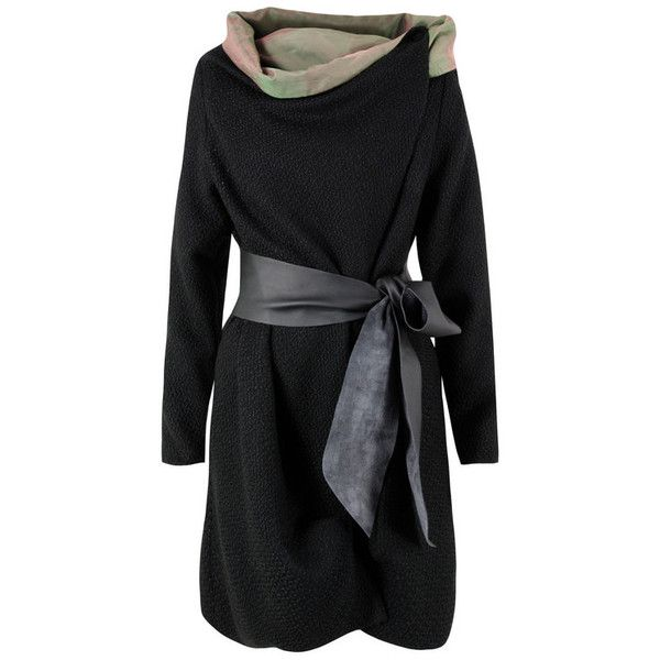 Kelly Ewingjessy Wrap Black Coat (5.900 RUB) ❤ liked on Polyvore featuring outerwear, coats, jackets, dresses, vestidos, women, pattern coat, leather coat, wrap coat and real leather coats