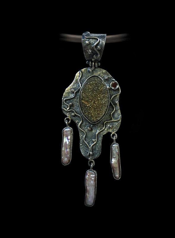 Unique Rainbow Druzy  Pendant, Handmade Jewelry, Pearls Jewelry by AlenaZenaJewelry on Etsy