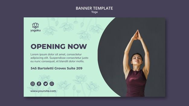 Download Banner Template With Yoga Theme For Free In 2020 Banner Template Yoga Themes Conference Banners