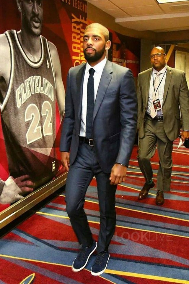 Kyrie Irving wearing  Lanvin Attitude Wool Suit, Del Toro Superga Camo Suede Limited Edition Low Top Sneaker