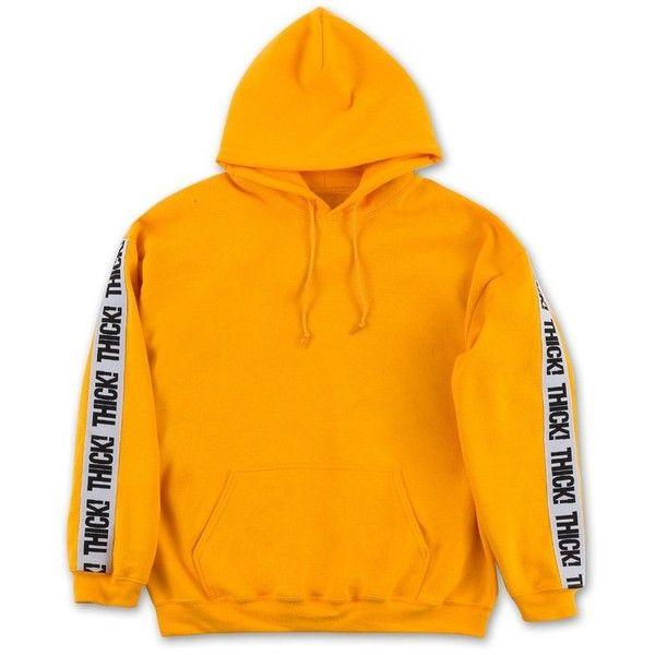 Thick! Elastic Band Hoodie in Mustard (€76) ❤ liked on Polyvore featuring tops, hoodies, mustard top, hooded sweatshirt, mustard yellow top, orange hoodie and orange hooded sweatshirt