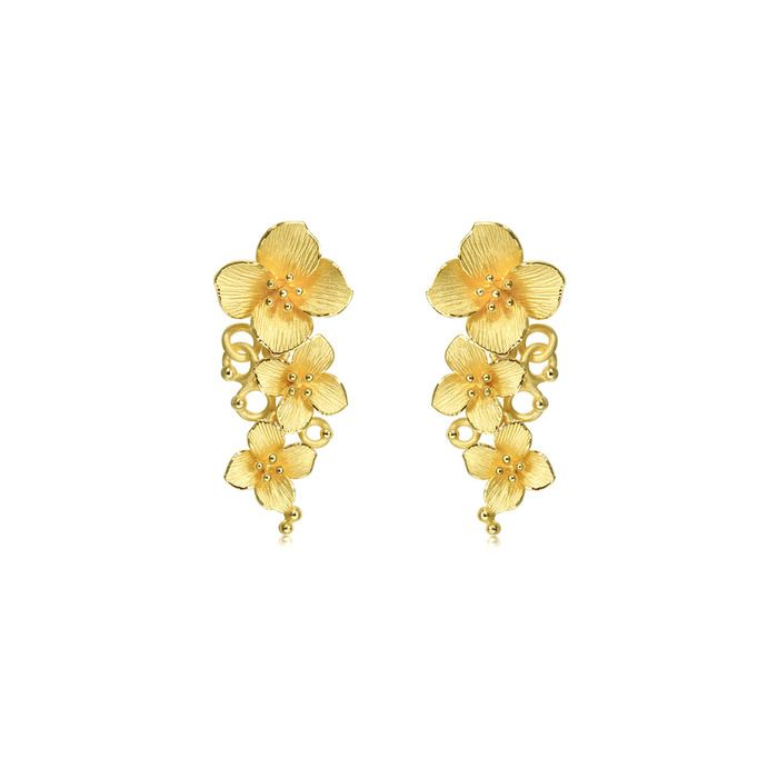 Chinese Wedding Collection 'Floral' 999.9 Gold Earrings | Chow Sang Sang Jewellery eShop