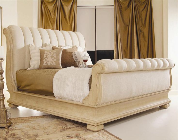 Caravelle upholstered sleigh bed by century for the home Upholstered sleigh bed