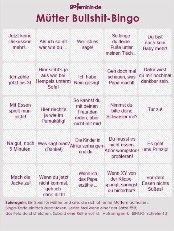 Mütter Bullshit Bingo - bin gespannt, wann du deine erste Bingoreihe voll hast! Wer kennt das bitte nicht?