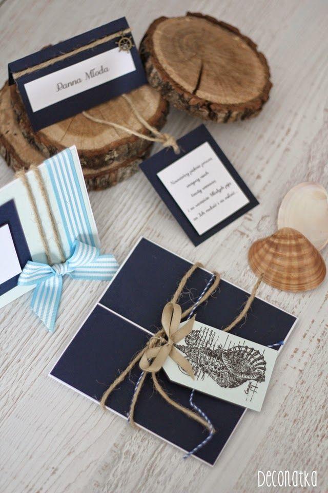 NOWOŚCI ŚLUBNE: Żeglarskie zaproszenia, winietki, etykietki  i skrzynka na rady z serii 'Morskie Opowieści' Nautical wedding