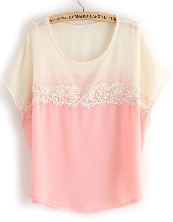 Pink White Short Sleeve Lace Chiffon Blouse - Sheinside.com