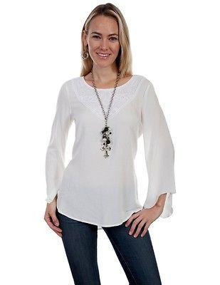 Scully Shirt Womens Bell Sleeve Antique Crochet Pattern Pullover HC283