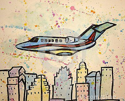 Colorful airplane  watercolor
