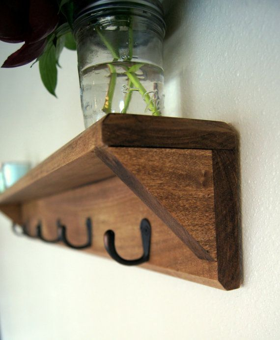 Solid Wood Coat Rack with Shelf Key Hooks by MidnightWoodworks