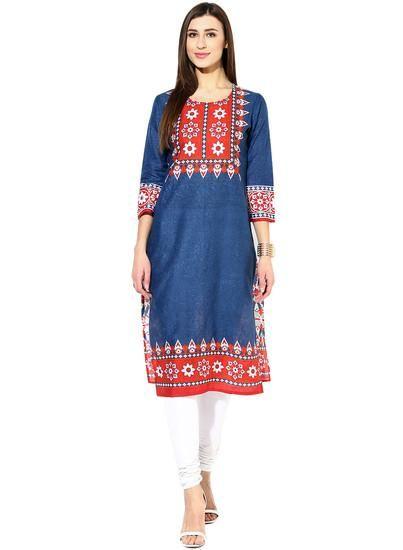 LadyIndia.com #Kurtis, Designer Cotton Blue Kurti For Women, Kurtis, Kurtas, Cotton Kurti, https://ladyindia.com/collections/ethnic-wear/products/designer-cotton-blue-kurti-for-women
