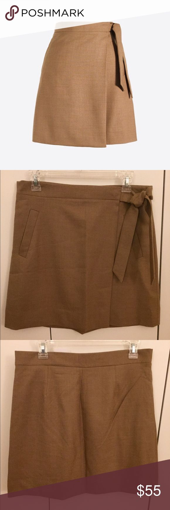 🎈NEW🎈 J. Crew Flannel Wrap Skirt 🎈NEW LISTING🎈 Brand new, never worn. Tan flannel material. Wrap skirt - two snap buttons to close and tie. J. Crew Skirts Mini