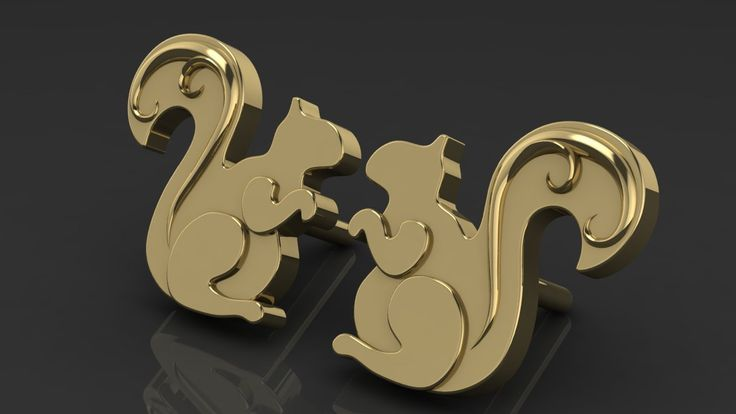 Купить Бельчонок - Серьги, детские серьги, серьги пусеты из золота