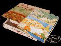 Pizzakartons mit unterschiedlichen Motiven