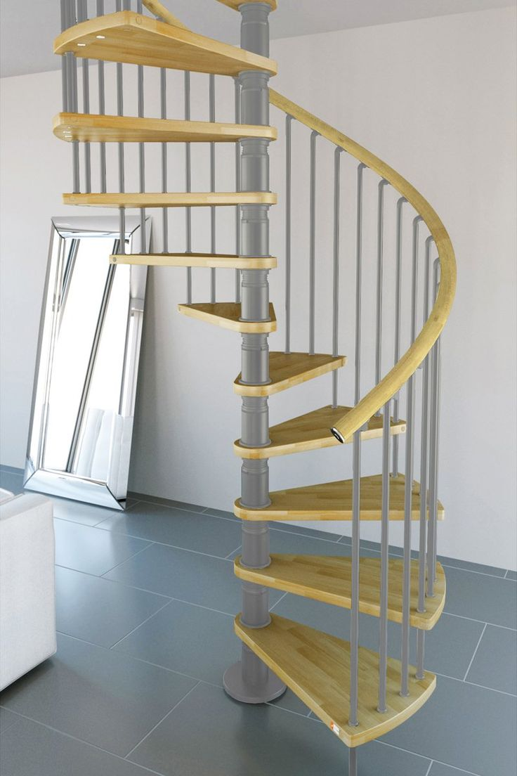 Gamia Deluxe Spiral Staircase 1200mm Silver with real wood handrail > Spiral  Staircase Kits > Home