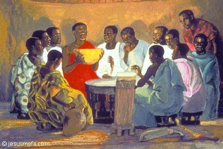 African jesus with disciples at the last supper ethnic - American history x dinner table scene ...