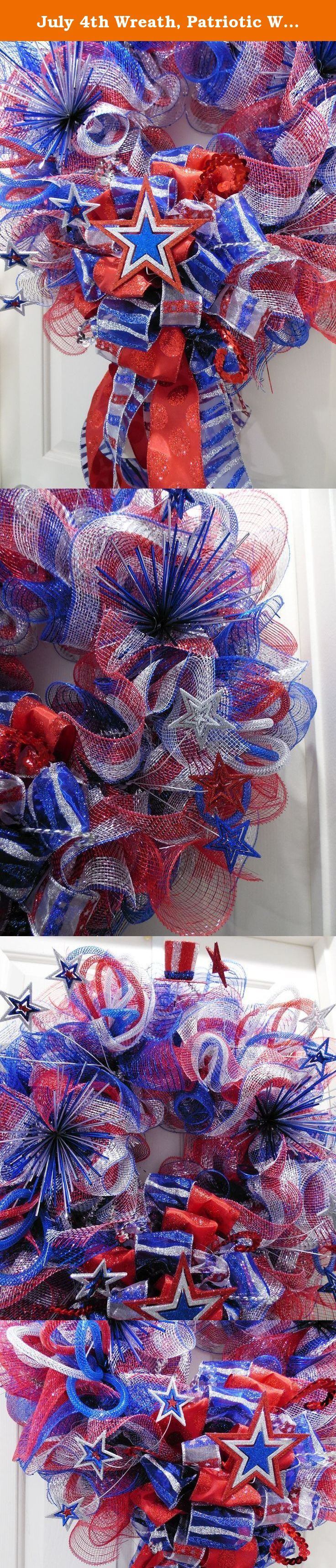 July 4th Wreath, Patriotic Wreath, Stars and Stripes Wreath, American Flag Wreath, Independence Day Wreath, Military Wreath, Red Blue Silver. Celebrate Independence with this Patriotic Deco mesh wreath in Red, Blue and Siver. Made on a 16' wire work wreath, this 4th of July special is made with deco mesh using the ruffle method. It is adorned with lots of spectacular goodies to celebrate the season such as: red, silver and blue ribbons, red silver and blue decomesh tubing, glittered stars…