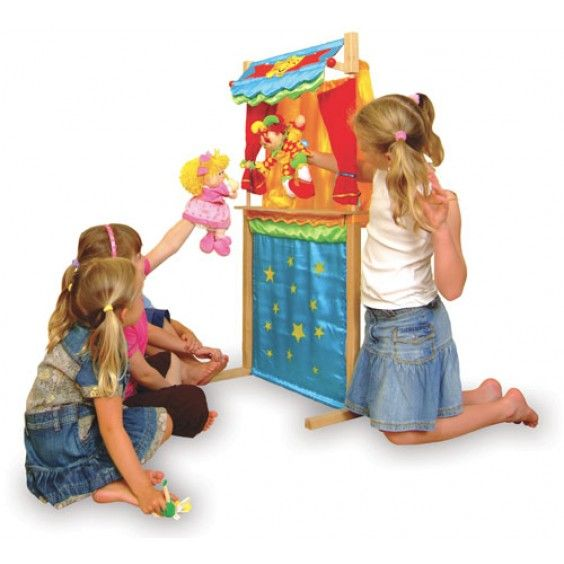 Front Bring story-time to life with this multi-purpose Tellatale puppet theatre from Fiesta Crafts. Made of quilted satin, it has fine detailing and by simply turning it around can become a shop front. The top half of the theatre can also be removed to form a table top theatre allowing both children and adults to perform... let the show begin! #Fiestacrafts #puppettheatre #puppets #Christmas2014
