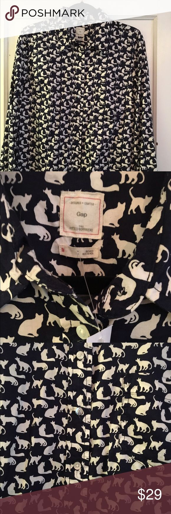 """GAP """"Fitted Boyfriend"""" Shirt - KITTEHS!!! CALLING ALL CAT LADIES: you need this shirt in your life. 100% cotton, Gap """"fitted boyfriend"""" cut (longer and a bit boxier than traditional women's cut). Cream colored cat silhouettes on deep navy background. Would look fresh over a tank top with cutoffs and white sneakers! New with tags, never worn. Discontinued, hard to find pattern...better pounce soon! GAP Tops Button Down Shirts"""