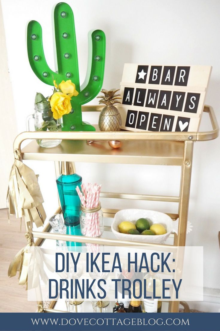 Ikea Hack DIY tutorial creating a drinks trolley bar cart using a Sunnersta trolley. Part of my Miami South Beach inspired summer garden outdoor patio makeover