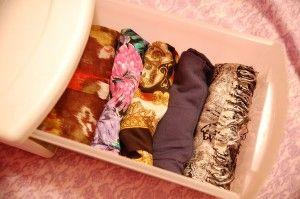 Scarf Storage: A TubCrafts Ideas, Scarf Tubs, J Adorable Decor, Rolls Scarves, Organic Ideas, Scarf Organic, Scarves Style, Scarf Storage, Crafty Ideas