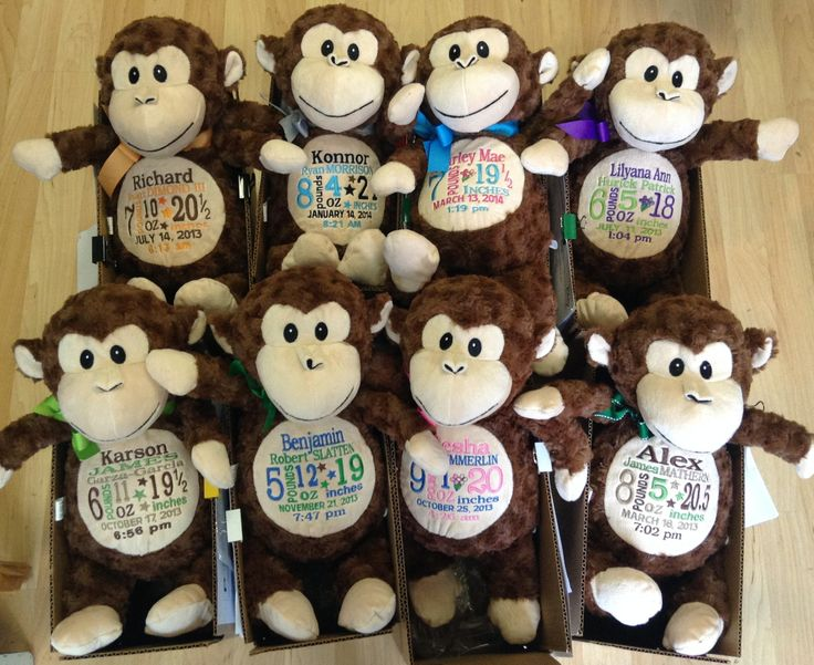 439 best personalized baby gifts images on pinterest animal monkey personalized baby gift birth announcement httpsetsy negle Images