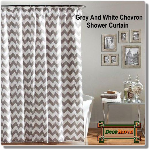 Grey And White Chevron Shower Curtain - A sophisticated grey and white chevron make this Grey And White Chevron Shower Curtain a quick way to revamp your bathroom. Only $48.76 plus FREE shipping!