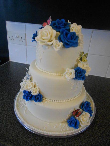 My First Wedding Cake Ivory Royal Blue