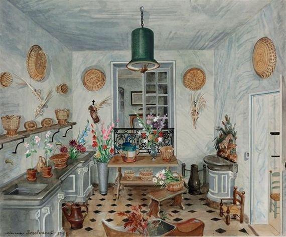 The Flower Room of Madame Lopez-Willshaw, Hotel Rodoconachi. Watercolor by Alexandre Serebriakoff, 1951.