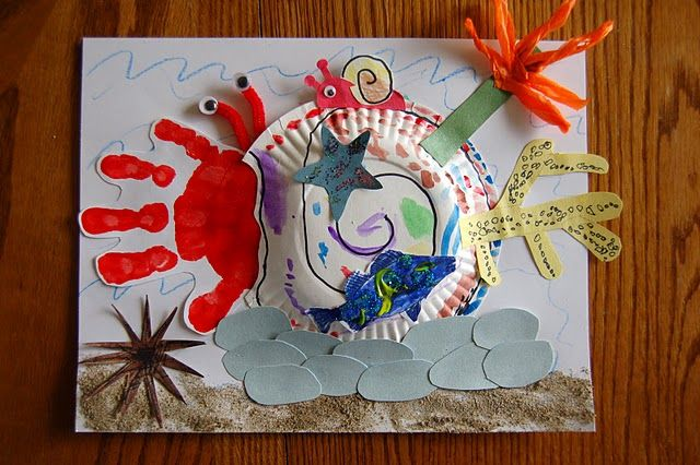"Literature #2: Eric Carle Art--This activity is to extend appreciation of literature and illustration and make it 3-D.  After reading the story ""A House for a Hermit Crab"" the students then make their own interpretation of his house using a paper plate, pipe cleaners, and other cut-out shapes and items."