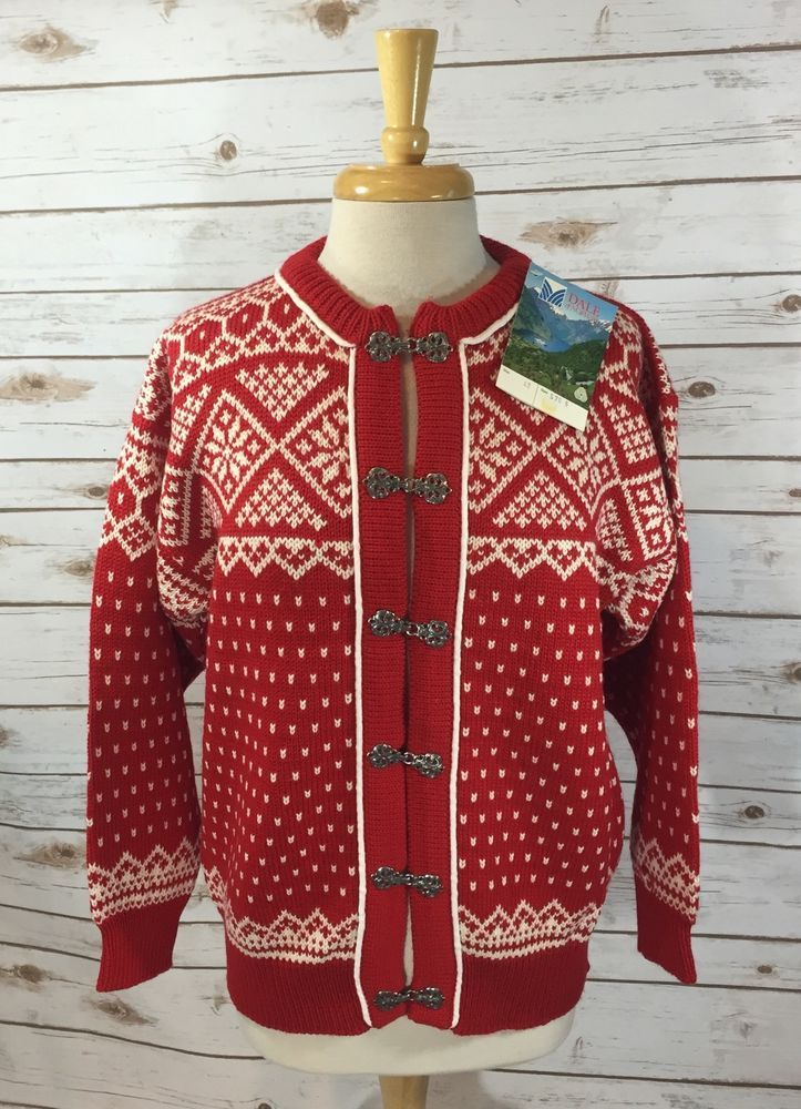 Vintage Dale of Norway Red White Fair Isle Cardigan Sweater Size ...