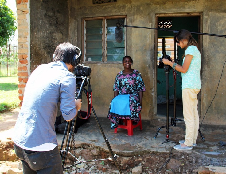 Invisible Children film editors, Ashley and Kevin, work on a new Mend seamstress video in northern Uganda.