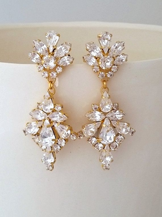 Bridal earrings,Crystal chandelier earrings,Wedding earrings,Bridal earrings,Vintage earrings,Swarovski crystal earrings,Bridal jewelry by EldorTinaJewelry on Etsy | http://etsy.me/2cpXPAG