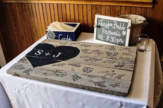 Rustic Wedding Guest Book reclaimed wood by WehuntWoodDecor