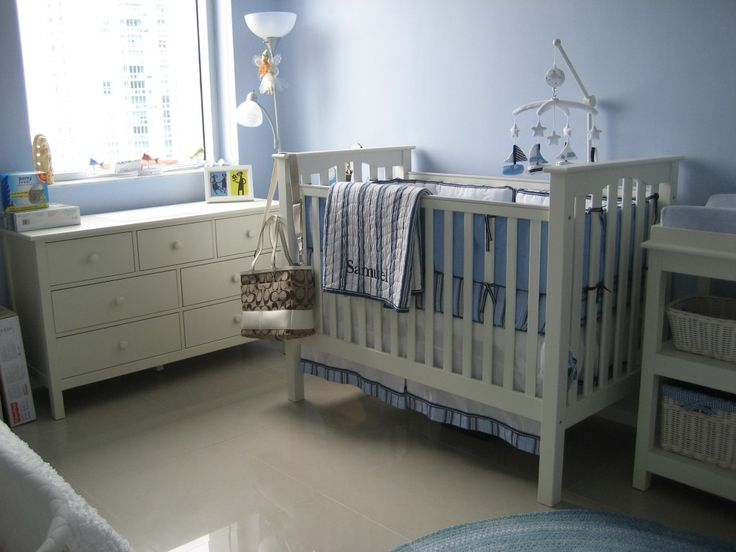 Sailboat Themed Blue Nursery with Pottery Barn Kids Chase Baby Bedding