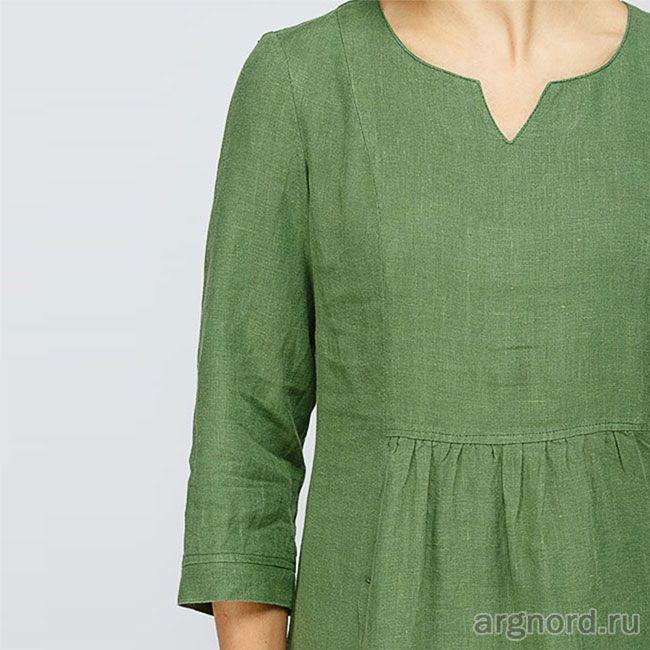 Летнее льняное платье (зеленый)  - М2/128 - Кайрос (рис. 7)