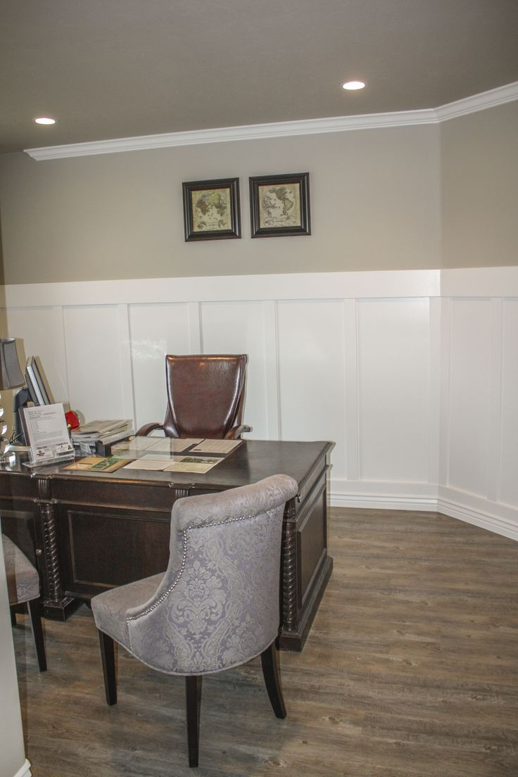 Craftsman style wall paneling in the office craftsman for Craftsman style office