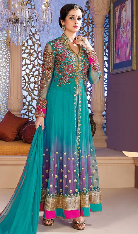 Stylish Net Long Anarkali Suit as A Perfect Party Wear Price: Usa Dollar $143, British UK Pound £84, Euro106, Canada CA$156 , Indian Rs7722.