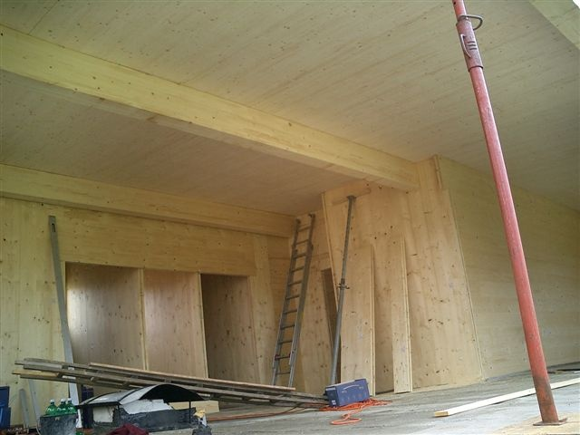 CLT interior during construction of Osterwasser House, Austria. Designed by amorphous design architects UK