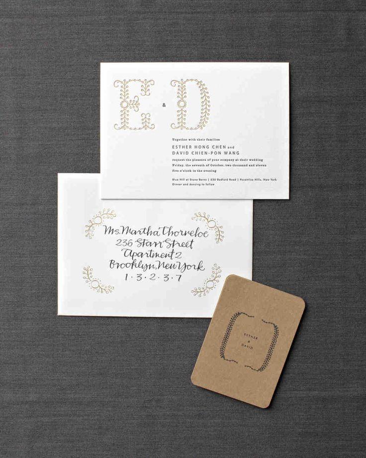 Traditional Engraved Wedding Invitations: Unique Monogram Traditional Wedding Invitations