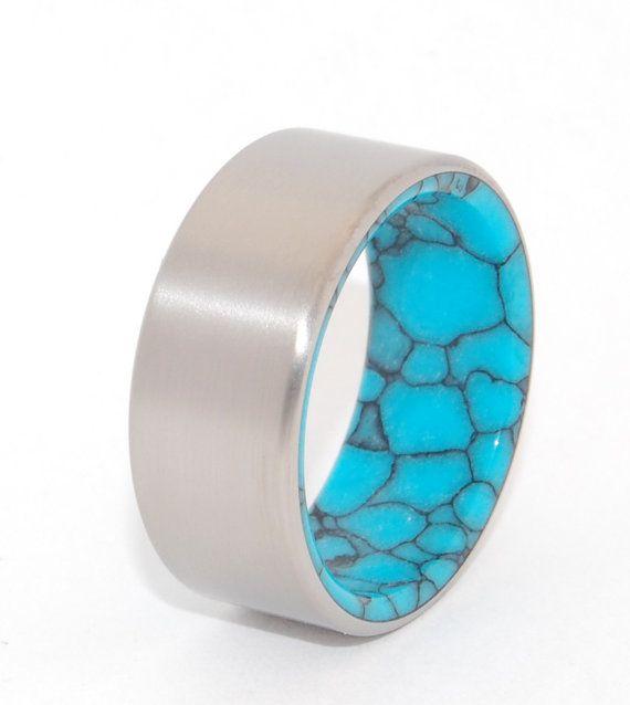 Titane mariage anneau bande turquoise bague par MinterandRichterDes