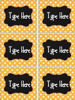 Editable polka dot labels.
