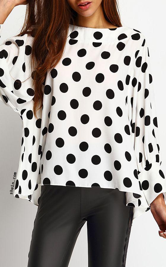 Polka Dots Batwing Sleeve Blouse